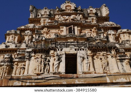 Stone bas-reliefs on walls the remained temples in Hampi, in India - stock photo