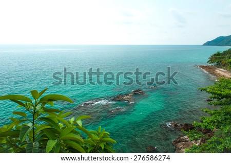 Stone beach at Koh Chang high angle view,Thailand - stock photo