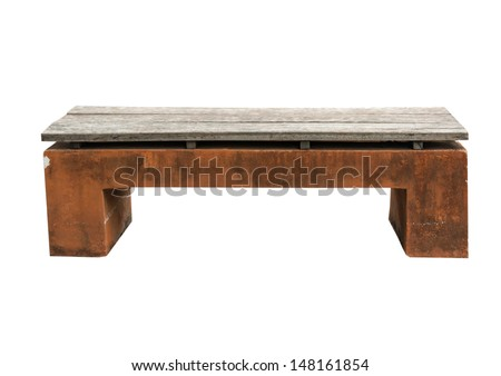 Stone Bench isolated on white - Old stone park bench - stock photo