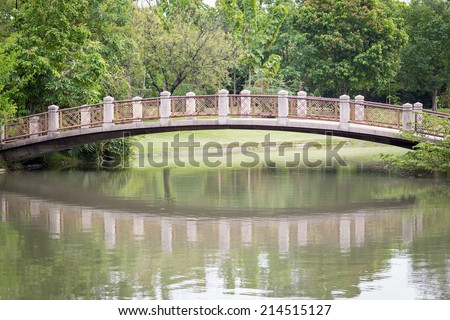 stone bridge in beautiful garden