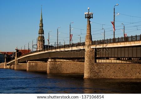 Stone bridge in Riga - stock photo