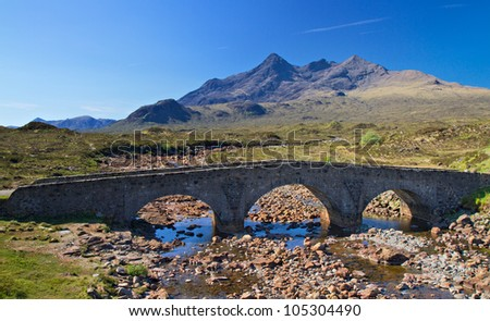 Stone bridge over a small river, Isle of Skye, Scotland