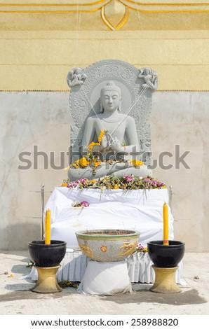 stone buddha in thailand  - stock photo