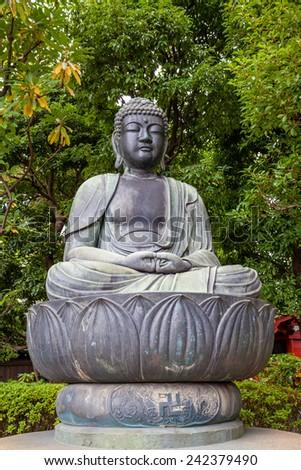 Stone Buddha statue, sensoji temple, tokyo, Japan - stock photo