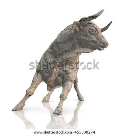 Stone bull sculpture, 3d render with white background