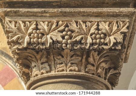 Stone carving column of Chhatrapati Shivaji Terminus (Victoria Terminus) of Mumbai - stock photo