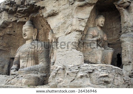 Stone carving of Yungang grottoes, two wonderful buddhas - stock photo