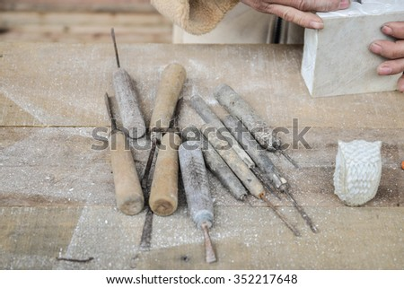 Stone Carving tools - stock photo