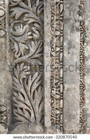 Stone carvings from Myra ancient city, Turkey