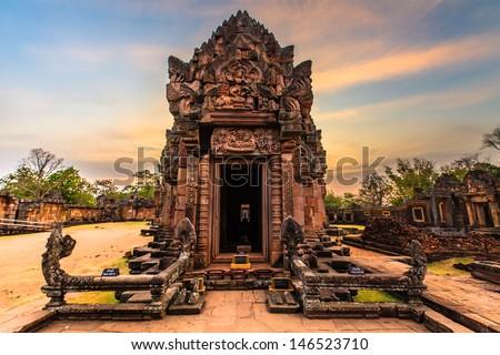 Stone castle at Khao-pranomrung cstle in Buriram province,Thailand. - stock photo