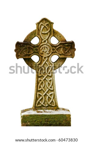 Stone Celtic Cross on a white background - stock photo