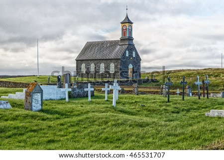 Stone Church at Hvalsnes , with cemetery, on Reykjanes Peninsula, Iceland