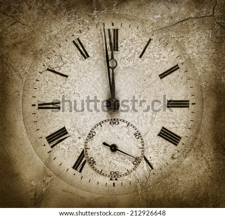 Stone clock.Cracked texture. Midnight concept - stock photo