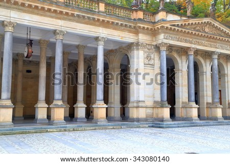 Stone columns of the Mill colonnade in Karlovy Vary , Czech Republic