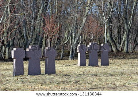 Stone crosses memorizing soldiers of World War II. Location Estonia.