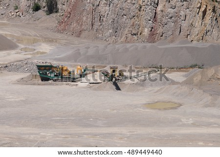 Stone crusher in a surface mine.