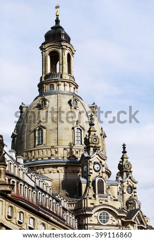Stone cupola of Dresden Frauenkirche, also called -Stone bell. Lutheran church in Dresden, Germany. The church was almost destroyed during World War II. - stock photo