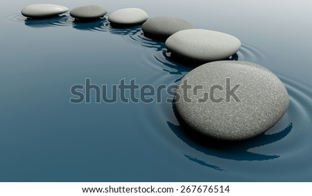 Stone. 3D. Stones in Water - stock photo