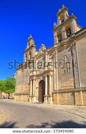 Stone decorated facade of Santa Maria de Los Reales Alcazares Church, Ubeda, Andalusia, Spain - stock photo