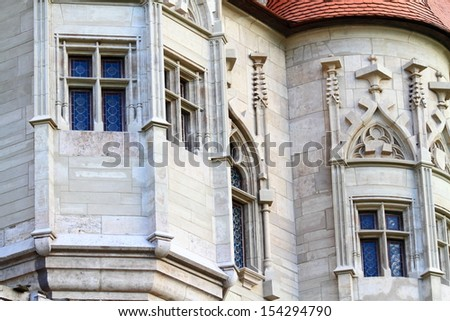 Stone decoration on gothic medieval castle