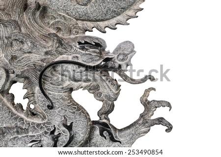 stone dragon isolated on white background - stock photo