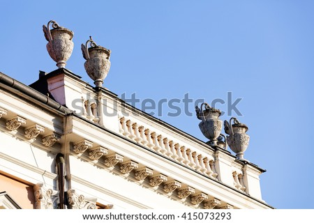 stone facade on classical building with ornaments