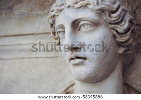 stone face of Roman statue - stock photo