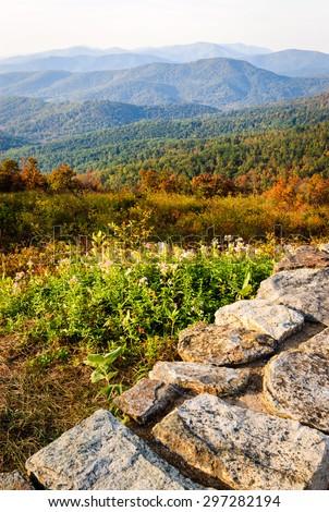 Stone Fence Overlook at Shenandoah National Park - stock photo
