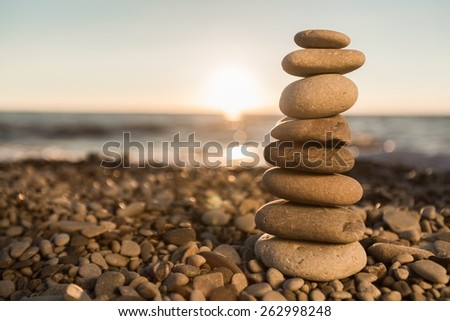 Stone. Feng Shui balance. Daybreak - stock photo