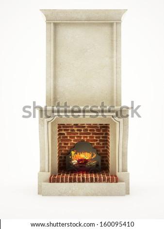 stone fireplace isolated on white - stock photo