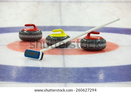 Stone for game in curling on ice - stock photo