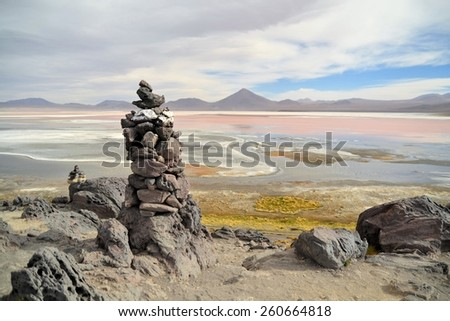 stone formation in the laguna colorada near salar uyuni, Bolivia - stock photo