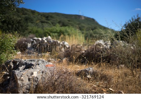Stone formations and Path markers along the Lycian Way. One of the worlds longest marked trails. Turkey, near Kas - stock photo