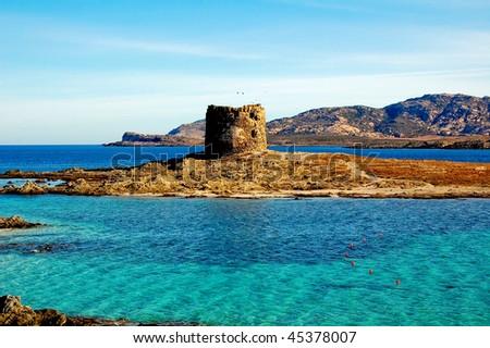 Stone fortress in sardegna - stock photo