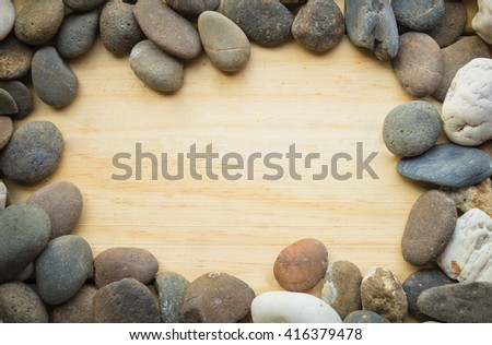 Stone frame on a wooden