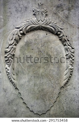 Stone frame on the wall. Gothic book cover - stock photo