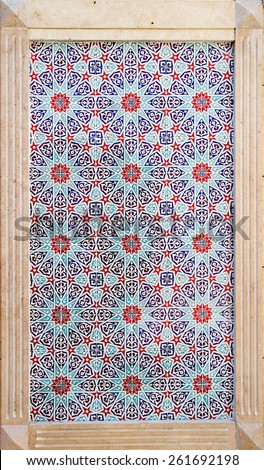 Stone framed Turkish tiles background - stock photo