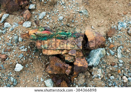stone from green clay ore pink quarry graphite ore - stock photo