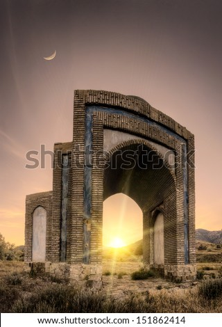 Stone gates in a Crimea mountains at sunset - stock photo