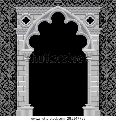 Stone gothic arch and wall in black and white colors on classic vintage background. Antique architecture frame - stock photo