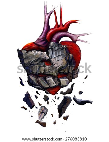 stone heart digital painting / stone heart - stock photo