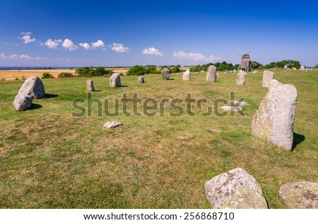 Stone henge on Oland island - stock photo