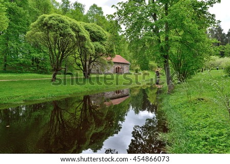 Stone house by the pond on the territory of the Museum - estate of A. S. Pushkin Mikhailovskoye Pskov region, Pushkin hills