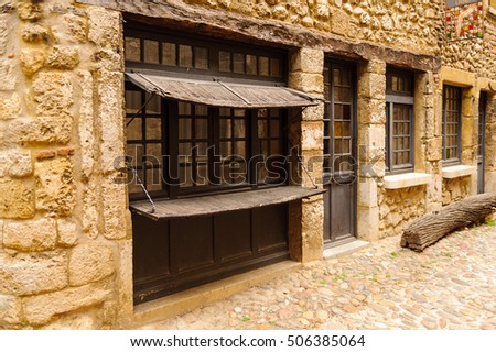 Stone house of Perouges, France, a medieval walled town, a popular touristic attraction.