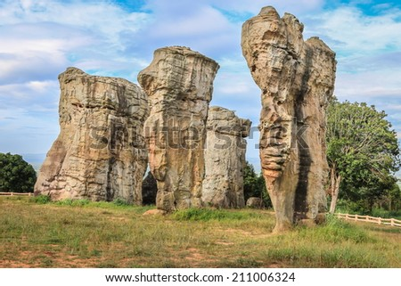 stone in Chaiyaphum, Thailand. with sky background. One of the sightseeing attraction location in Thailand - stock photo