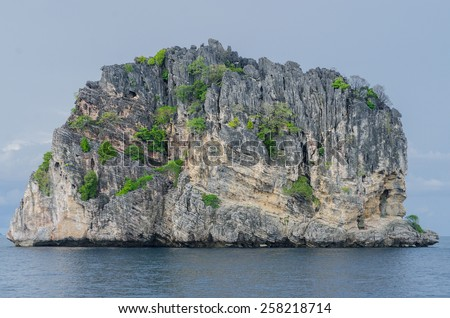 Stone island with trees in the ocean in Thailand - stock photo