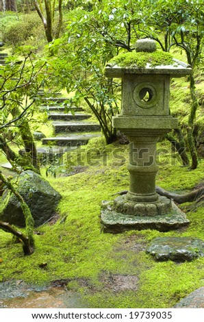 Stone Lantern in Japanese Garden - stock photo