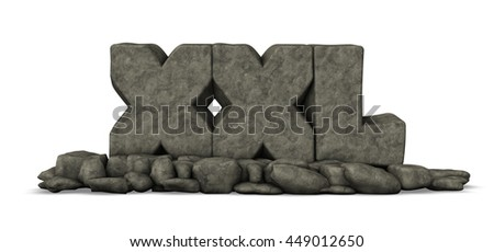 stone letters xxl on white background - 3d rendering - stock photo