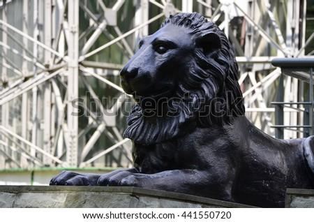 Stone lion - stock photo