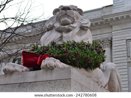 Stone lion at entrance to the New York City Library, NYC, USA - stock photo